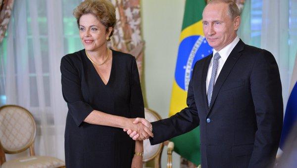 Беседа Президента Российской Федерации Владимира Путина с Президентом Бразилии Дилмой Роуссефф