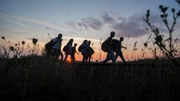 Мигранты на границе Венгрии и Сербии. Август 2015. Архивное фото