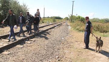 Беженцы переходят границу в районе поселка Реске