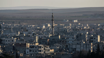Вид на разрушенный сирийский город Айн-эль-Араб, также известен как Кобани