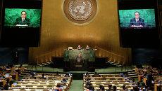 Министр иностранных дел КНДР Ли Су Ён во время выступления на Генеральной Ассамблее ООН. 1 октября 2015