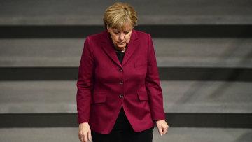 Канцлер Германии Ангела Меркель прибывает на заседание в Бундестаг