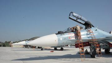 СУ-30СМ готовятся к вылету с авиабазы Хмеймим (Латакия), Сирия