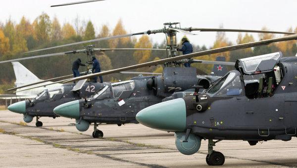 Вертолеты Ка-52 Аллигатор. Архивное фото
