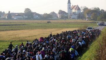 Мигранты и беженцы направляются к временному лагерю на хорватско-словенской границе. Архивное фото