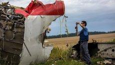 Эксперты миссии ОБСЕ на месте крушения лайнера Boeing 777 Малайзийских авиалиний в районе города Шахтерск Донецкой области. Архивное фото