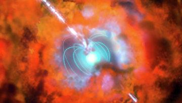 Так художник представил себе первую звезду Вселенной, погибающую в результате взрыва гиперновой