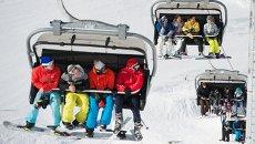 Туристы на канатной дороге на горнолыжном курорте Горки Город в Красной Поляне. Архивное фото
