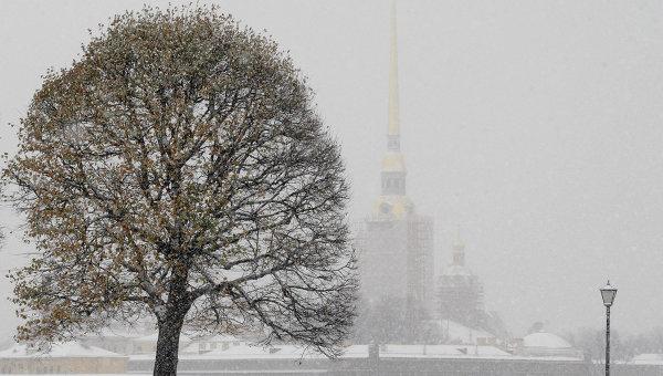 Обильный снегопад в Санкт-Петербурге