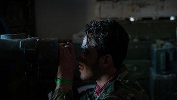 Передовые позиции бойцов сирийской армии в окрестностях Пальмиры