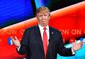 Кандидат в президенты США от Республиканской партии Дональд Трамп во время предвыборных теледебатов на телеканале CNN
