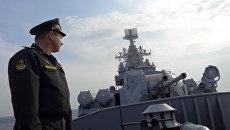 Крейсер Москва у базы Хмеймим в Сирии