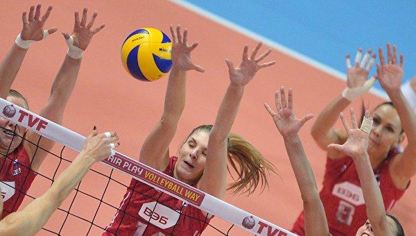 Матч отборочного турнира по волейболу среди женщин к Олимпийским играм 2016 года между сборными командами России и Турции