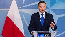 Президент Польши Анджей Дуда в штаб-квартире НАТО. Архивное фото