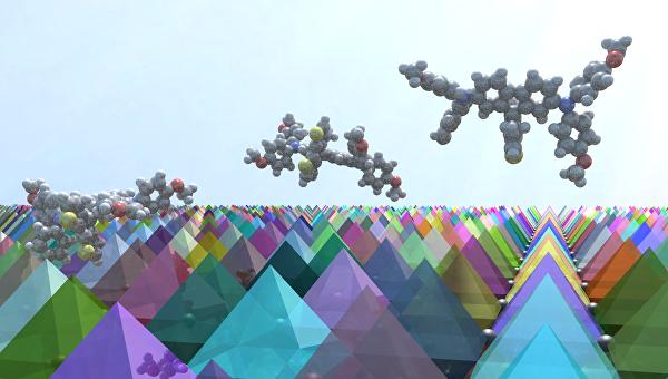 Кристаллы перовскита, покрытые веществом FGT в представлении художника