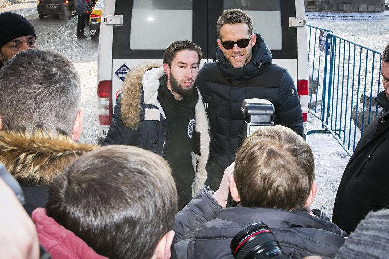 Актер Райан Рейнольдс во время визита в Москву. 24 января 2016