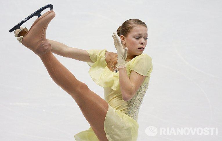 Анастасия Галустян (Армения) выступает в короткой программе женского одиночного катания на чемпионате Европы