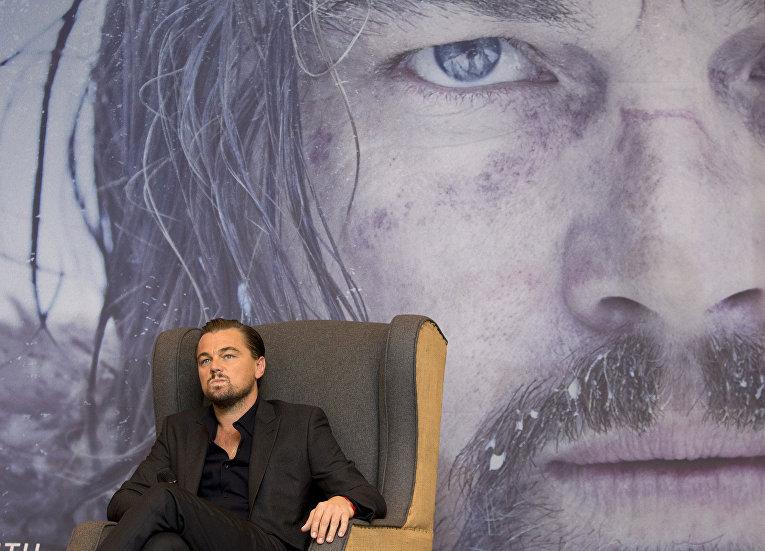 Американский актер и продюсер Леонардо Ди Каприо во время пресс-конференции. Январь 2016