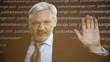 Основатель WikiLeaks Джулиан Ассанж во время видео-конференции. 5 февраля 2016