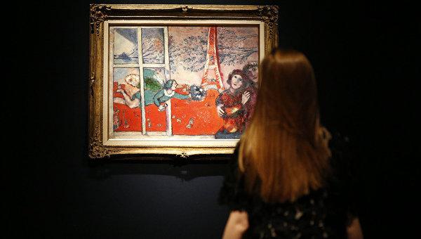 Полотно Марка Шагала 1920-х годов под названием Влюбленные и Эйфелева башня на торгах Sotheby's
