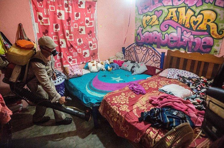 Медработник распыляет инсектициды для борьбы с комарами, переносящими вирус Зика в Мексике
