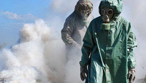 Учения по защите от химического и ядерного заражения. Архивное фото