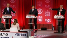 Джеб Буш, Тед Круз и Дональд Трамп выступают на дебатах