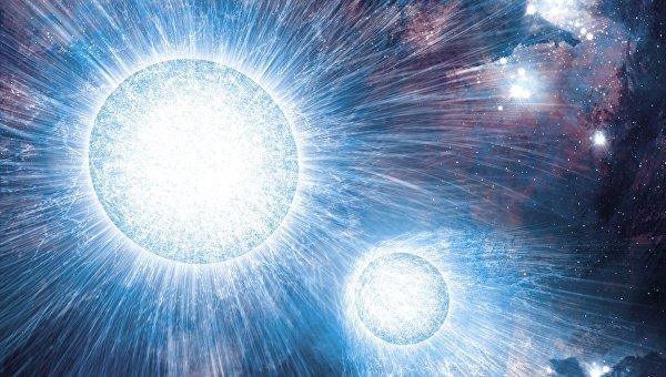 Столкновение мощных звездных ветров, представление художника