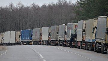 Российские грузовики в очереди на пересечении  границы. Архивное фото