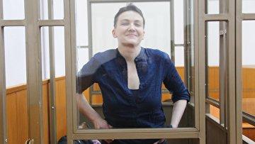 Гражданка Украины Надежда Савченко, обвиняемая по делу о гибели российских журналистов в Донбассе, на заседании Донецкого городского суда Ростовской области