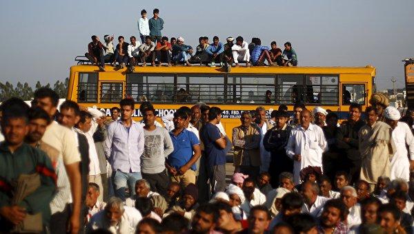 Акции протеста в штате Харьяна на севере Индии, 21 февраля 2016