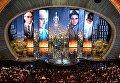 Марк Райлэнс с наградой за лучшую роль второго плана в фильме Шпионский мост на 88-й церемонии вручения премии Оскар