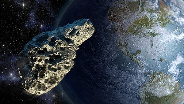 Рисунок астероида около планеты Земля