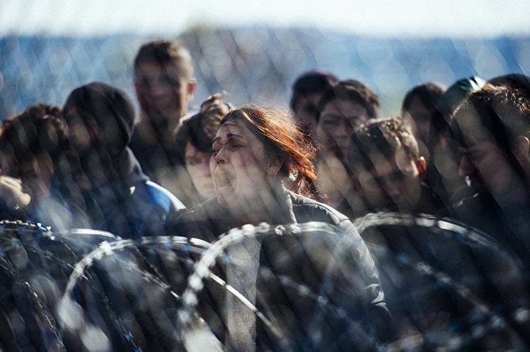 Беженцы на границе Греции и Македонии