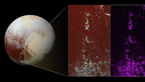 Метановый снег в регионе Ктулху на Плутоне