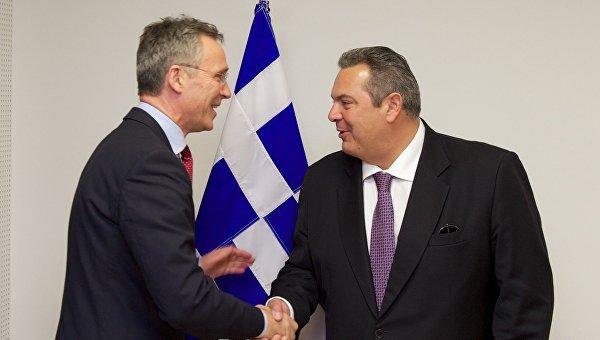 Встреча главы Минобороны Греции и генсека НАТО
