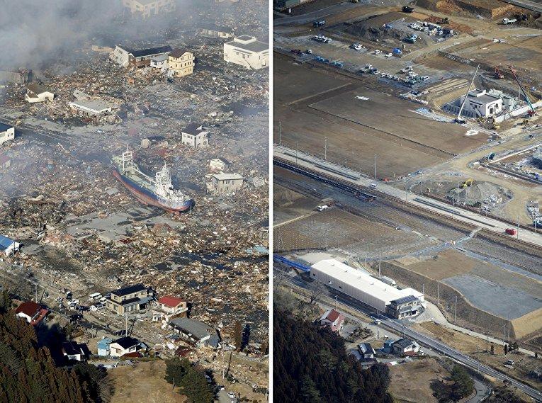 Снимок последствий цунами 12 марта 2011 (слева) и снимок 16 февраля 2016 (справа) в Японии