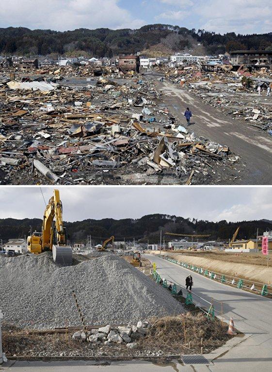 Снимок последствий цунами 17 марта 2011 (вверху) и снимок 3 февраля 2016 (внизу) в Японии