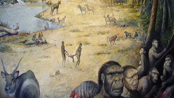 Так художник представил себе первых Homo habilis в Олдувайском ущелье