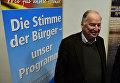 """Вице-председатель партии """"Альтернатива для Германии"""" Александер Гауланд во время предвыборного митинга Восточной Германии. 11 марта 2016"""