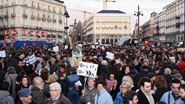 Митинг против соглашения ЕС и Турции по беженцам в Мадриде. Март 2016