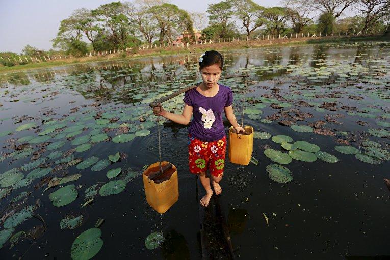 Девушка несет речную воду. Янгон, Мьянма