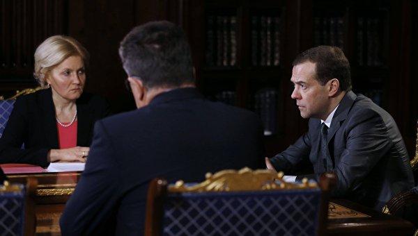 Председатель правительства РФ Дмитрий Медведев проводит в подмосковной резиденции Горки совещание с вице-премьерами РФ. 21 марта 2016