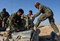 Бойцы отряда ополчения Фатимиюн загружают боекомплект в танк Т-72 на переднем крае в горах в 10 км от Пальмиры