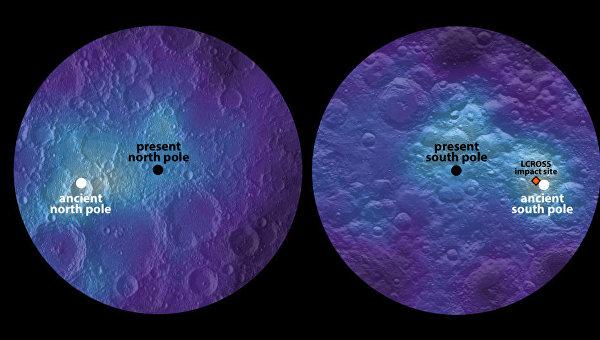 Запасы льда на современных полюсах Луны – их неправильное положение указывает на сдвиги оси