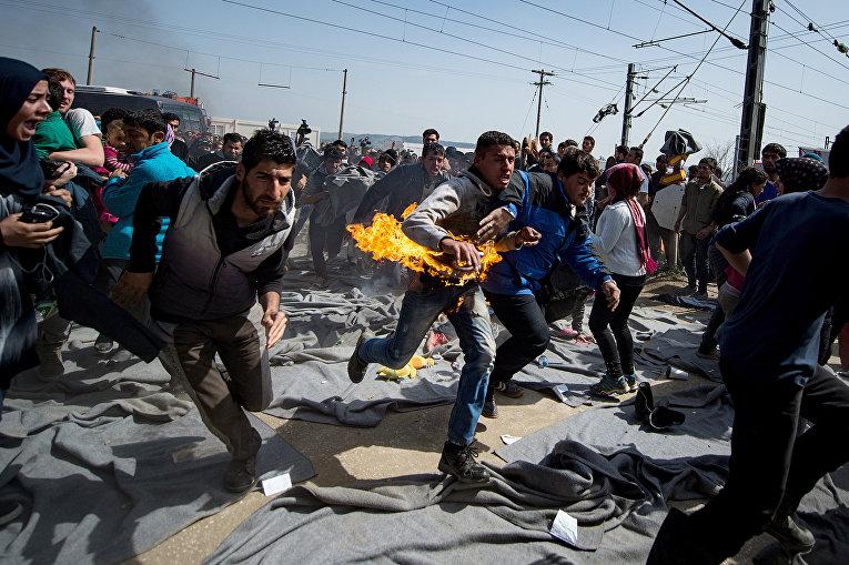 Акция протеста в палаточном лагере на греко-македонской границе. 22 марта 2016
