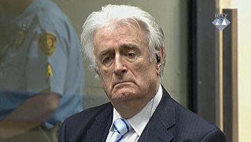 Экс-президент Республики Сербской в Боснии и Герцеговине Радован Караджич во время суда Международного трибунала в Гааге. 24 марта 2016. Архивное фото