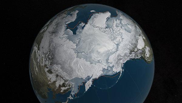 Площадь зимних льдов в Арктике. 28 марта 2016