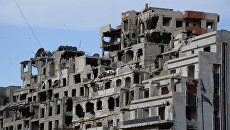 Вид на разрушенные дома в Сирии. Архивное фото