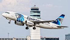 Фотография потерпевшего крушение пассажирского самолета A320 авиакомпании EgyptAir, сделанная в Вене 21 августа 2015 года. Архивное фото